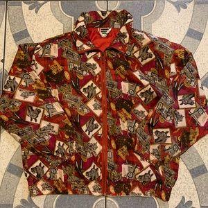 Vintage Silk Horses All Over Print Track Jacket M